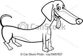 dachshund dog cartoon for coloring book csp15657827