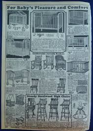 Original Vintage Antique 1924-5 Wards Ad For Baby Furniture Cribs High  Chairs