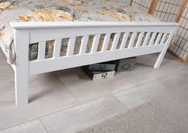 kingsize white wooden bed frame serene