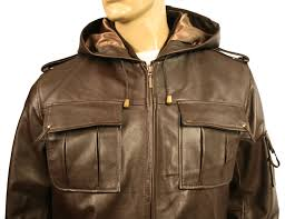 mens hooded brown leather jacket alaskan