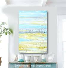 original art abstract painting yellow grey turquoise blue textured coastal wall decor 36x24 coastal wall decor on yellow blue and grey wall art with coastal wall decor calvinwu club