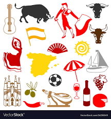 Traditional Symbols Spain Icons Set Spanish Traditional Symbols And Vector Image
