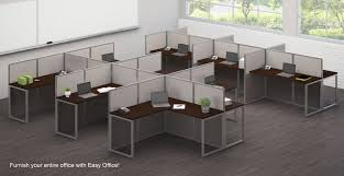 modern office cubicles. Easy Office Cubicle Series - 4 Person Cluster L-Cubicle Modern Cubicles 6