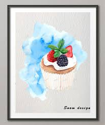 original watercolor cupcake wall art canvas painting cake illustration poster print pictures kitchen bakery decor wall on cupcake canvas print wall art with original watercolor cupcake wall art canvas painting cake
