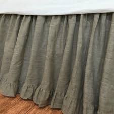 dark linen bed skirt w country ruffle hem handcrafted by superior custom linens