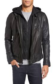 4 lamarque leather moto jacket with hood mens