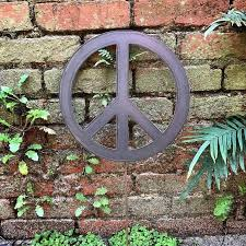 peace sign yard stake with or without heart choice of size finish outdoor decor garden decor garden gift garden metal