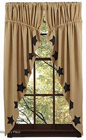 burlap natural black stencil star prairie curtains these burlap natural stencil star prairie curtains would be a charming country accent to your window