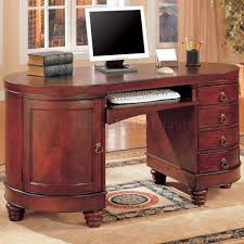 home office furniture cherry. Interesting Home Brown Cherry Finish Kidney Shaped Classic Home Office Desk CROD 800571 Throughout Furniture A