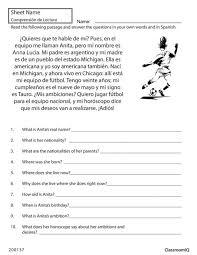 Spanish Reading Comprehension Worksheets. Reading ...