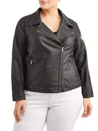 new look women s plus size classic leather jacket with rose applique com