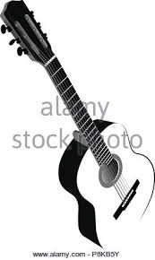 Black And White Image Of Six String Acoustic Guitar Vector