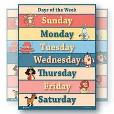 Days Of The Week Chart For Toddlers Details About Learning Days Of The Week Chart For Toddlers