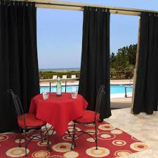 sunbrella canvas black outdoor curtain with tabs 50 in x 96 in