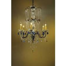 bronze chandelier clear amber and blue crystal 6 arm