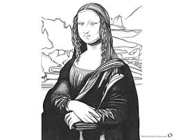 Mona Lisa Coloring Pages Black And White Art Free Printable