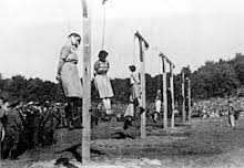 Execution of guards of the Stutthof concentration camp on 4 July 1946 by  short-drop hanging. In the foreground were the female guards: Jenny-Wanda  Barkmann, ...