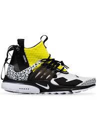 nike black white and yellow x acronym presto leather sneakers