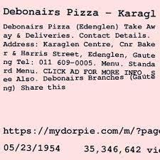 debonairs pizza contact details