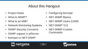 What Is Snmp Monitoring Pfsense 2 4 With Snmp Pfsense Hangout March 2018