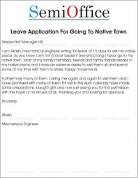 Application For Leave To Manager Leave Application To Go Native Place