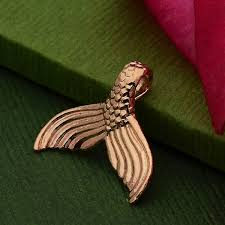 rose gold pendant mermaid tail in 24k gold plate