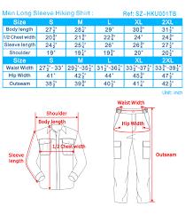 Wear Size Chart Hiking Wear Size Chart