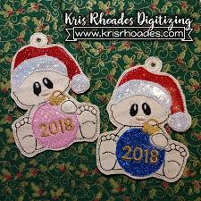 First Christmas Embroidery Design Babys Christmas Ornament Embroidery Design With Years 2017 2018 2019 2020 And Blank