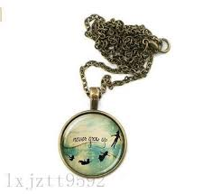 Quote Jewelry Impressive Peter Pan Necklace Never Grow Up Quote Jewelry Round Glass Pendant