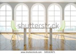 modern wooden chair front view. Front View Of Interior With Light Table, Modern Chairs, Wooden Floor And Windows Chair