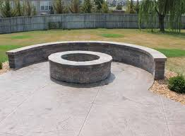 Stamped Concrete Patio With Square Fire Pit More than10 ideas