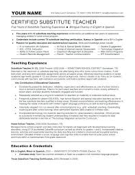 Teaching Resumes Impressive Sample Substitute Teacher Resume Objective Teaching Resumes Examples