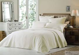 luxury super king size cream quilted embroidered bedspread throw 2 pillow shams