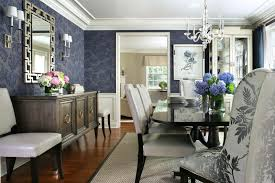 modern formal dining room set beautiful wood floor carpet mirror lamps chairs table chandelier flowers curtain
