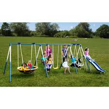 comfortable swingset for outdoor childrens play design interesting garden childrens play with metal frame swingset