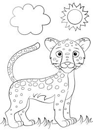 Cute Cartoon Jaguar Coloring Page Vadallatok Wild Animals