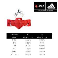 Adidas Chest Protector Sizing Chart Adidas Wtf Taekwondo Reversible Body Protector