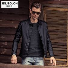 enjeolon leather jacket men black coats p220