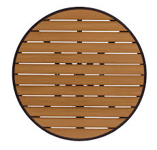 longport 32 round synthetic teak commercial outdoor table top with black frame umbrella hole optional