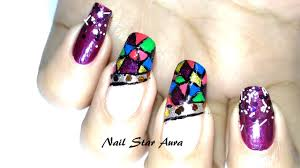 Shattered Glass French Nail Art Tutorial | Eid special Nail Art ...