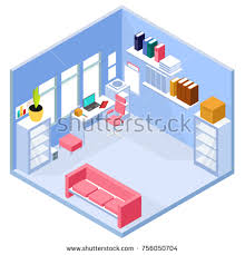 isometric office furniture vector collection. Isometric Home Office Interior. 3d Workspace With Computer And Furniture. Vector Illustration Furniture Collection B