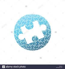 Puzzle Globe Logo Blue Puzzle Globe With One Big White Puzzle In The Middle