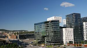 modern office building. Time Lapse From Modern Office Buildings Next To The Oslo Opera House In Norway Stock Video Footage - Videoblocks Building