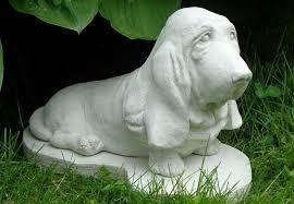 basset hound concrete statue garden