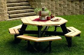 bench round wood picnic table inexpensive wood