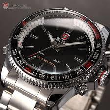 shark digital analogy watches led silver stainless sport quartz shark digital analogy watches led silver stainless sport quartz wrist watch men watch sh003