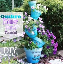 Ombre Stenciled Flower Pots