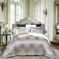 2017 luxury blue silver duvet cover set lace border linens silk cotton jacquard queen king
