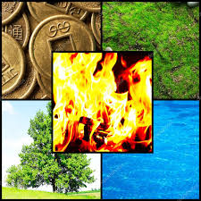 collage feng shui. Collage Of Feng Shui Destructive Cycle With Five Elements (water, Wood, Fire, Earth, Metal) \u2014 Photo By Belchonock G