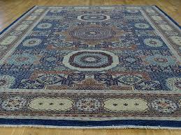 navy blue peshawar hand knotted mamluk design oriental rug
